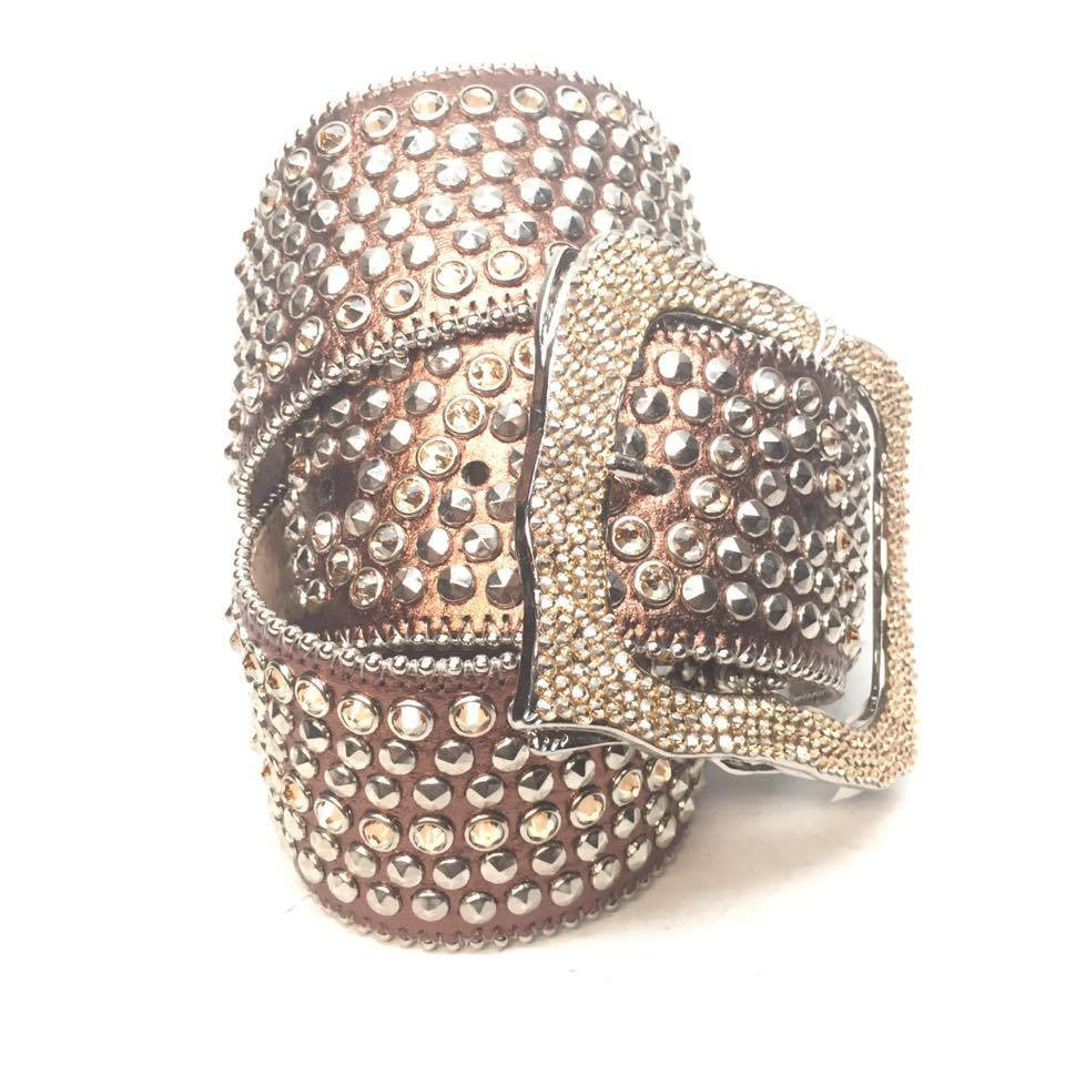 "B.B. Simon ""Thick Gold Studded"" Crystal Belt - Dudes Boutique"