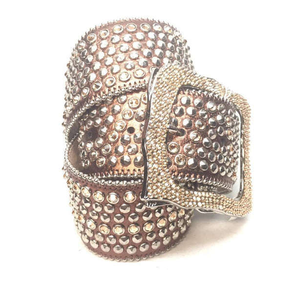 "B.B. Simon ""Thick Gold Studded"" Swarovski Crystal Belt"