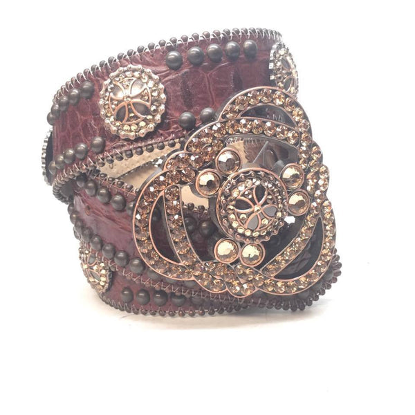 "B.B. Simon ""Bronze Dominatrix"" Swarovski Crystal Belt - Dudes Boutique"