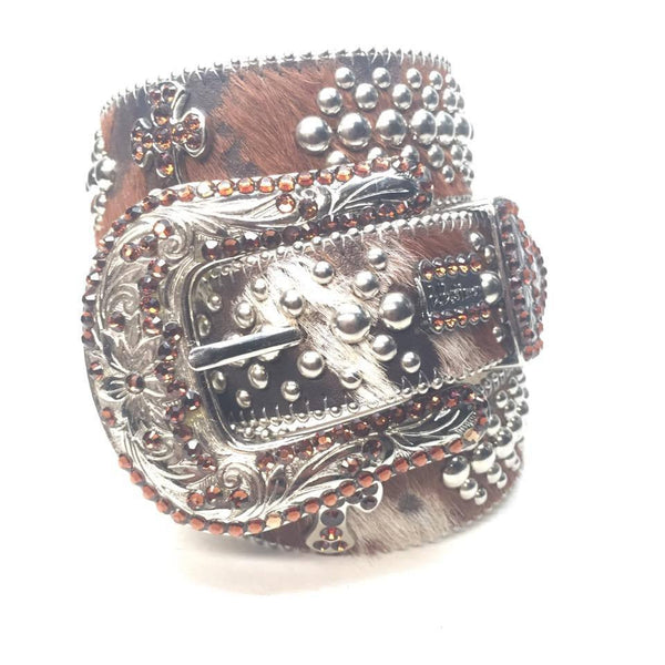 "B.B. Simon ""Cross Pony Hair"" Swarovski Crystal Belt - Dudes Boutique"
