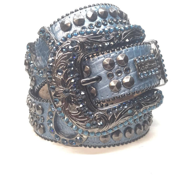 "B.B. Simon ""Blue Horseshoes"" Swarovski Crystal Belt - Dudes Boutique"