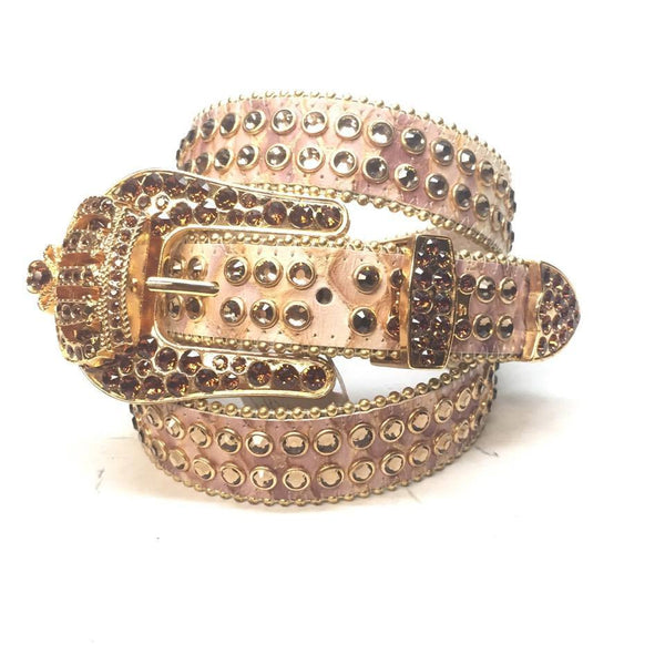 "B.B. Simon ""1/2 Thick Golden Crown"" Swarovski Crystal Belt - Dudes Boutique"