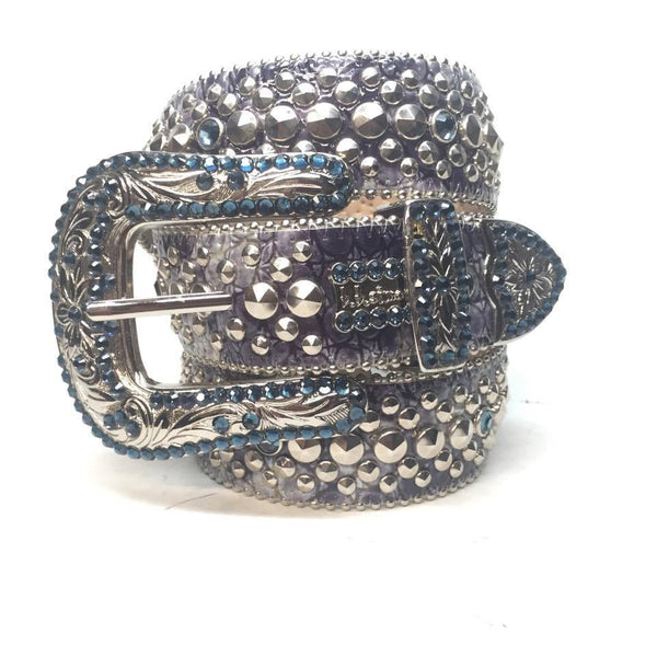 "B.B. Simon ""Blue Lakes"" Swarovski Crystal Belt - Dudes Boutique"