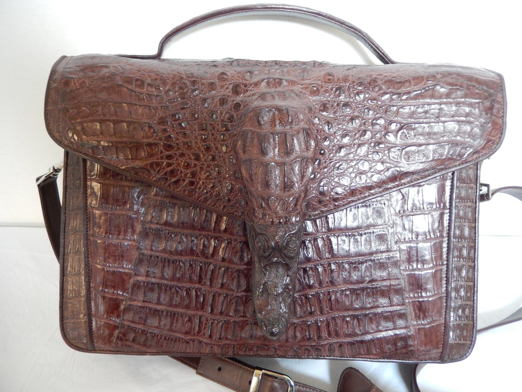 Safari Chocolate Alligator Snout Travel Bag - Dudes Boutique - 1