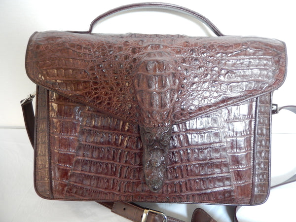 Safari Chocolate Alligator Snout Travel Bag - Dudes Boutique