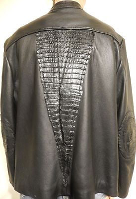 G-Gator Jet Black Adult Crocodile Biker Jacket - Dudes Boutique