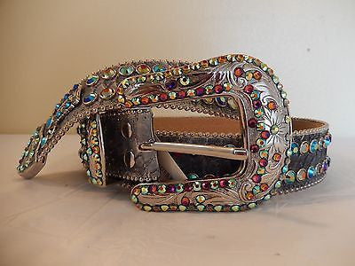 B.B. Simon 'Python Rainbow' Crystal Belt - Dudes Boutique
