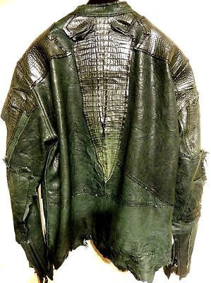 G-Gator Forest Green Crocodile/Lamb Skin Biker Jacket - Dudes Boutique - 1