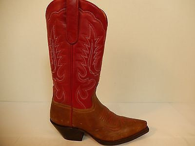 Star Boots Classic Red Leather Cowboy Boots - Dudes Boutique - 2