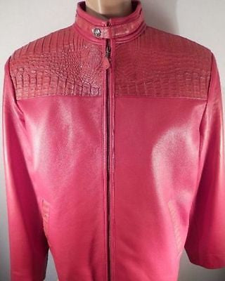 G-Gator Candy Red Crocodile Biker Jacket - Dudes Boutique