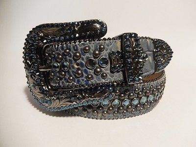 "B.B. Simon ""Ocean Blue"" Swarovski Crystal Belt - Dudes Boutique"
