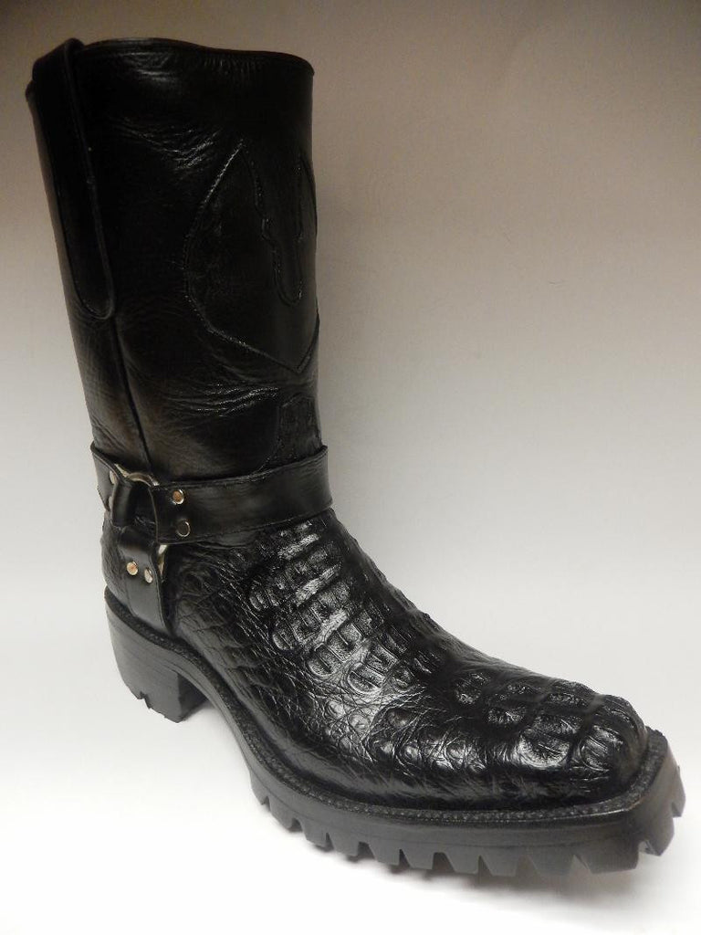 Safari Harness Crocodile Biker Boots - Dudes Boutique - 1