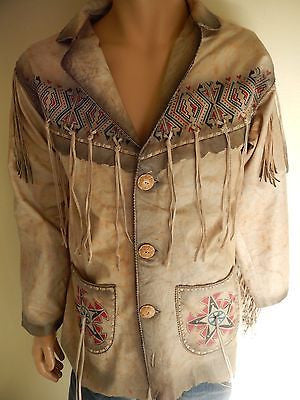 Kobler Cream Hand Painted Indian Fringe Jacket - Dudes Boutique - 1