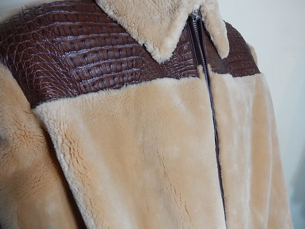 G-Gator Chocolate Buttercup Crocodile & Sheared  Beaver Fur Coat - Dudes Boutique - 1