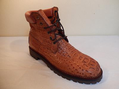 Safari Cognac All-Over Horn-back Crocodile Lace Up Boots - Dudes Boutique - 1
