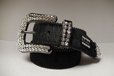 B.B. Simon 'Jet Black' Swarovski Crystal & Pony Hair Belt - Dudes Boutique