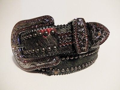 B.B. Simon 'Stealth' Swarovski Crystal & Pony Hair Belt - Dudes Boutique