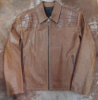 G-Gator Cognac Crocodile/Cowhide Flight Jacket - Dudes Boutique