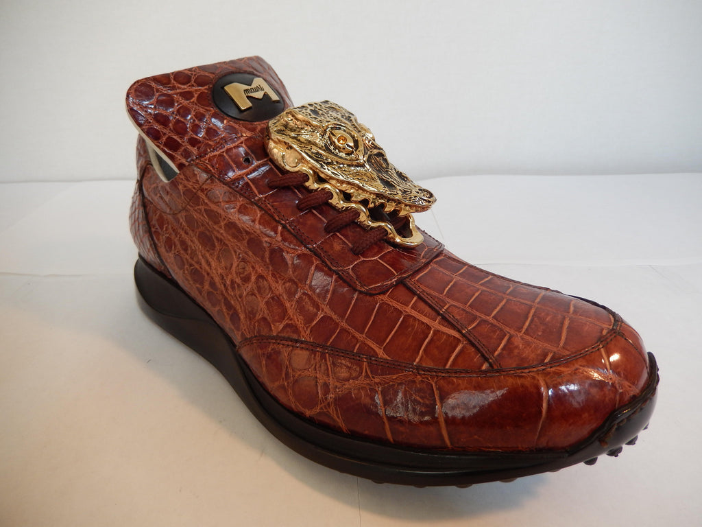 Mauri All-Over Cognac Alligator Sneakers 8731/2 - Dudes Boutique - 1