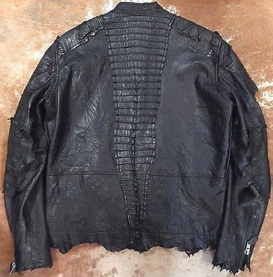G-Gator Jet Black Crocodile/Lamb Skin Bomber Jacket - Dudes Boutique - 1