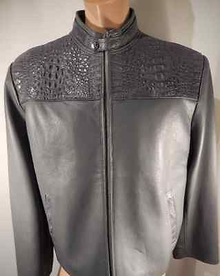 Safari Gray Horn-back Crocodile/Lamb Skin Jacket - Dudes Boutique - 1