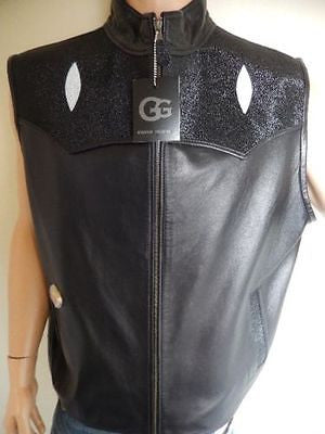 G-Gator 910 Black Stingray/Baby Lamb Skin Vest - Dudes Boutique