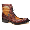 Mauri 42742 Cognac Chocolate Crocodile Tail Two Tone Ankle Boots