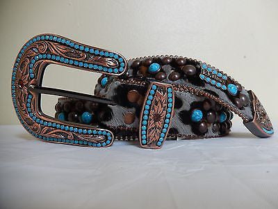 B.B. Simon 'Marble' Studded Crystal & Pony Hair Belt - Dudes Boutique