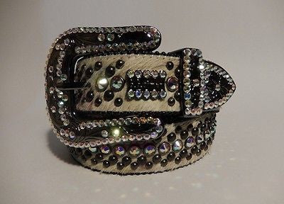 B.B. Simon 'Ice' Swarovski Crystal & Pony Hair Belt - Dudes Boutique