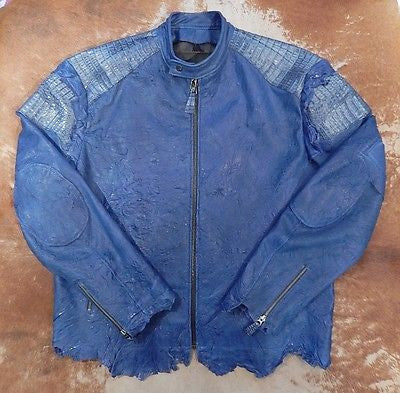G-Gator Carolina Blue Crocodile Biker Jacket - Dudes Boutique - 1