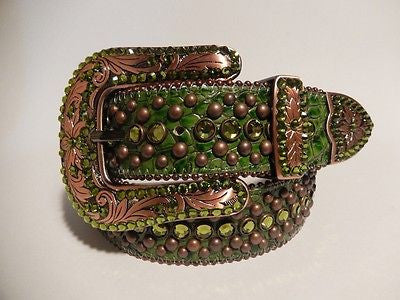 "B.B. Simon ""Forest Green"" Swarovski Crystal Belt - Dudes Boutique"