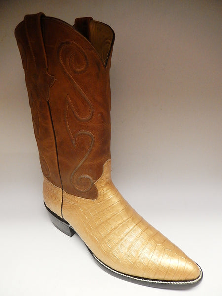 Safari Golden Crocodile Cowboy Boots - Dudes Boutique - 1