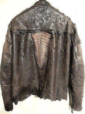 G-Gator Chocolate Crocodile/Lamb Skin Biker Jacket - Dudes Boutique - 1
