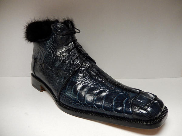 Mauri Mink/Ostrich Leg/Crocodile Lace Up Ankle Boots 4409 - Dudes Boutique - 1