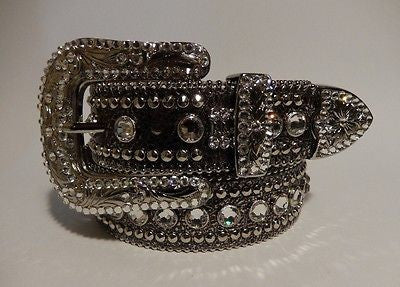 B.B. Simon 'Pure Silver' Swarovski Crystal Belt - Dudes Boutique