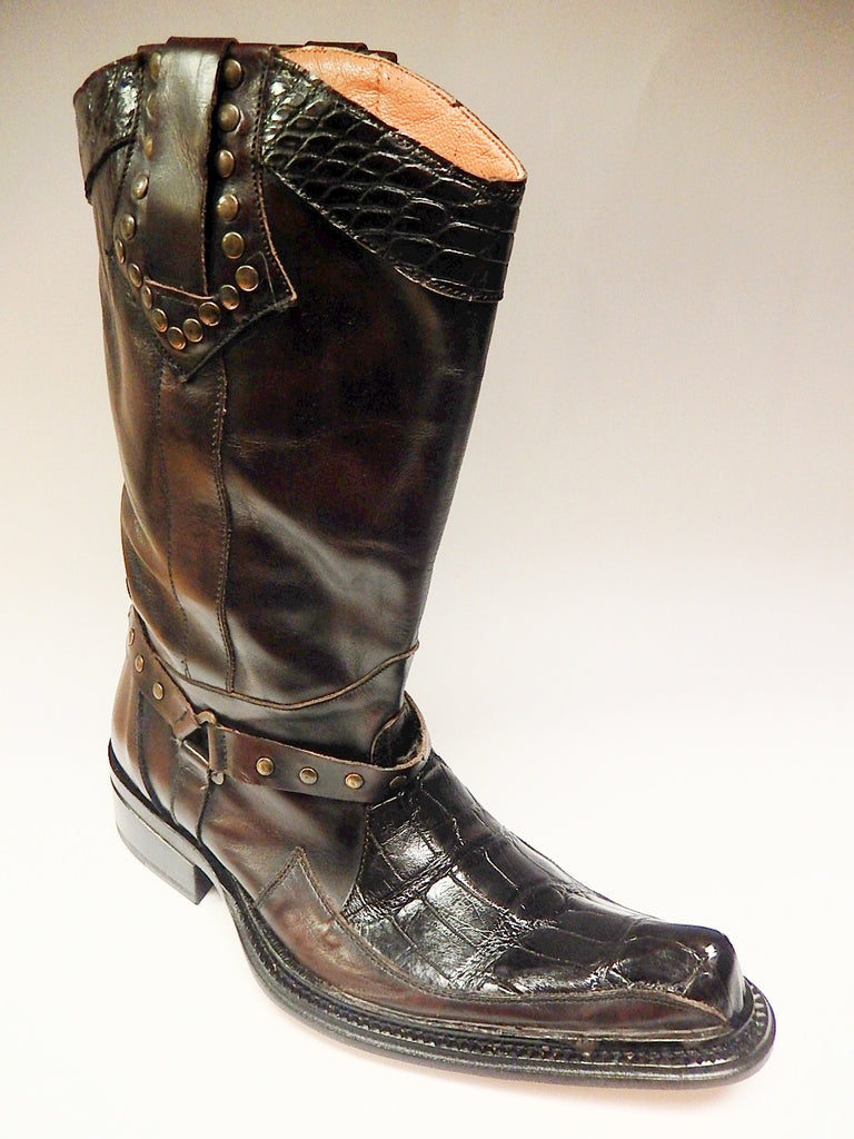 Mauri Chocolate Alligator & Calf Knee Boots 44238 - Dudes Boutique - 1