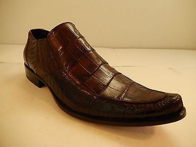 Mauri Chocolate Crocodile/Ostrich Leg Dress Loafers 42861 - Dudes Boutique