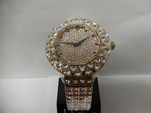B.B. Simon White Crystal & Rose Gold Watch - Dudes Boutique