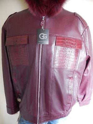 G-Gator - Wine Horn-back Crocodile & Fox Fur Jacket - Dudes Boutique