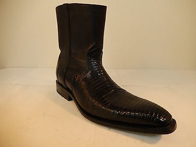 Los Altos Black Lizard/Lamb Skin Ankle Boots - Dudes Boutique