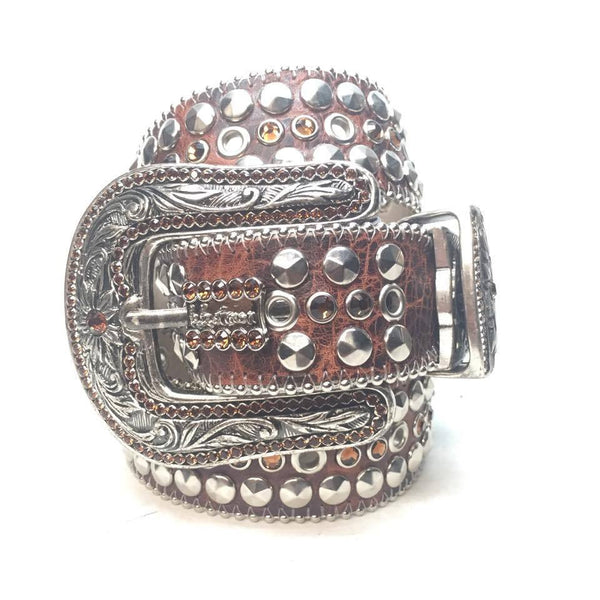 "B.B. Simon ""Chocolate Leather"" Swarovski Crystal Belt - Dudes Boutique"