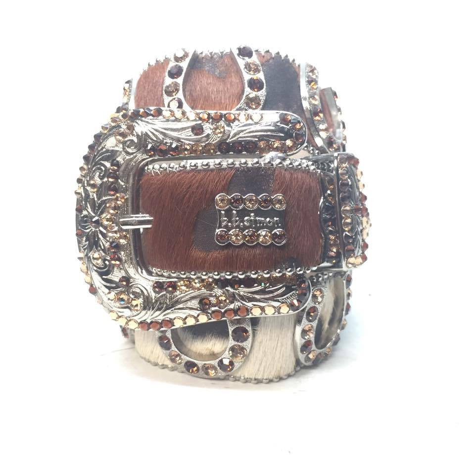 "B.B. Simon ""Pony Hair Horseshoe"" Swarovski Crystal Belt - Dudes Boutique"