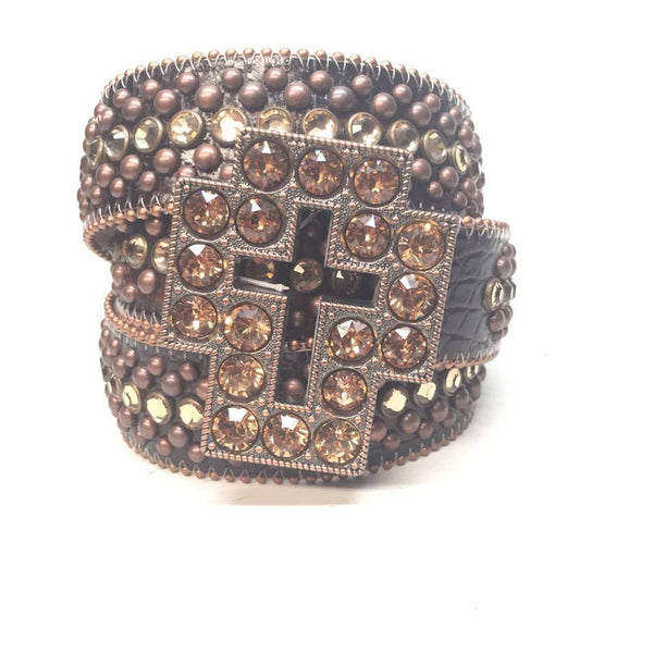 "B.B. Simon ""Chocolate Cross"" Swarovski Crystal Belt - Dudes Boutique"