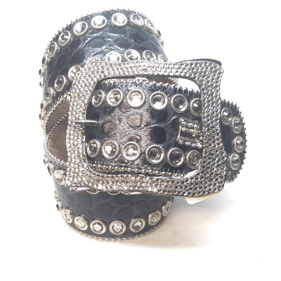 "B.B. Simon ""Thick Fully Loaded Gator"" Swarovski Crystal Belt - Dudes Boutique"