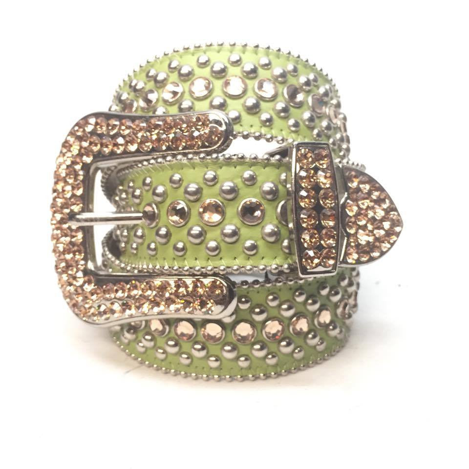 B.B. Simon Lime Green Gold Crystal Belt - Dudes Boutique