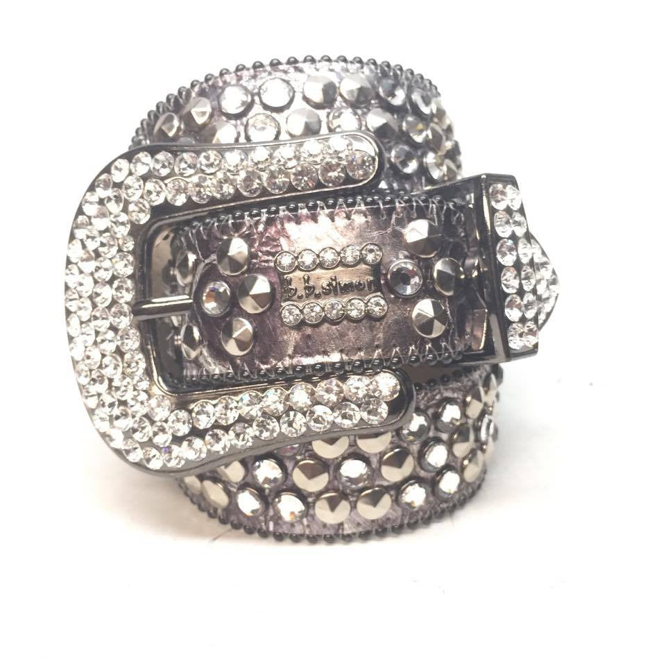"B.B. Simon ""Fully Loaded Platinum"" Crystal Belt - Dudes Boutique"