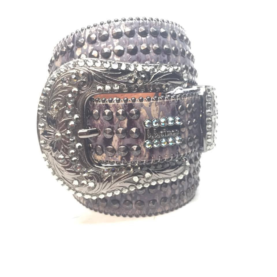 "B.B. Simon ""Metallic Triple Studied"" Swarovski Crystal Belt - Dudes Boutique"