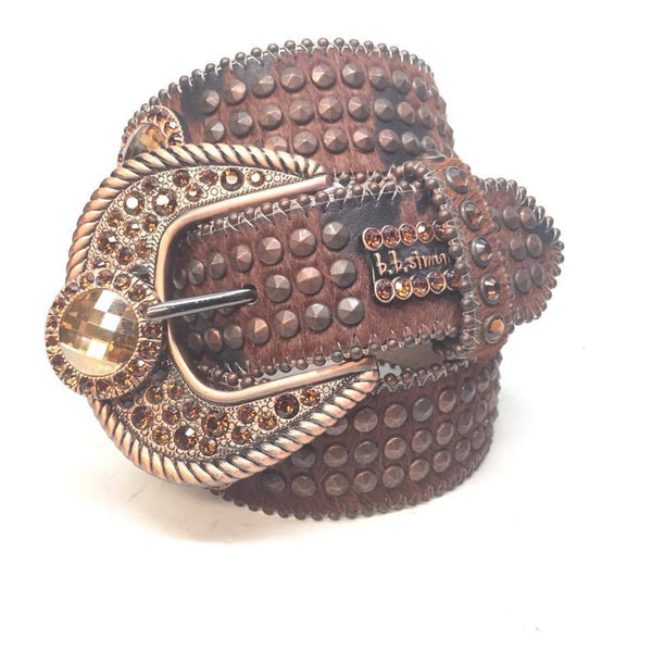 "B.B. Simon ""Triple Studded Bronze Harness"" Swarovski Crystal Belt"