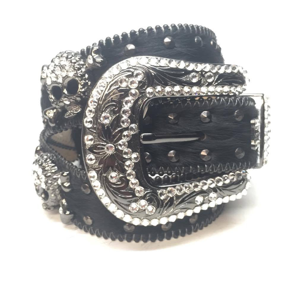 "B.B. Simon ""Double Studded Skull Pony Hair"" Swarovski Crystal Belt - Dudes Boutique"