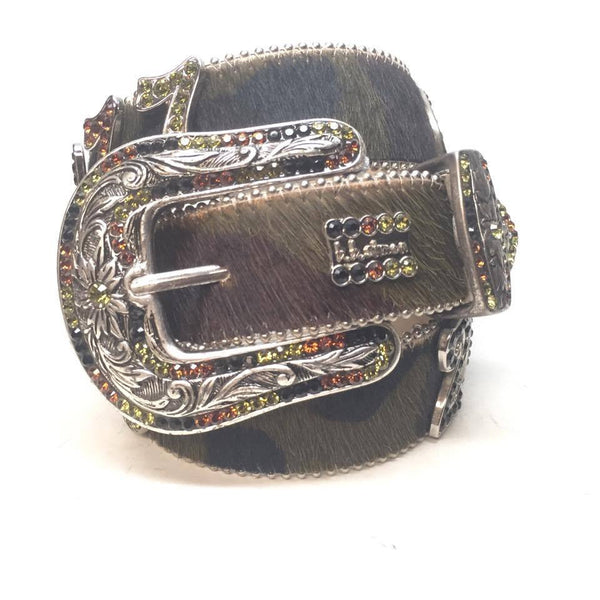 "B.B. Simon ""Camo Pony Hair Numbers"" Swarovski Crystal Belt - Dudes Boutique"